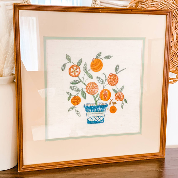 Vintage Potted Plant Framed Crewel Embroidery Art